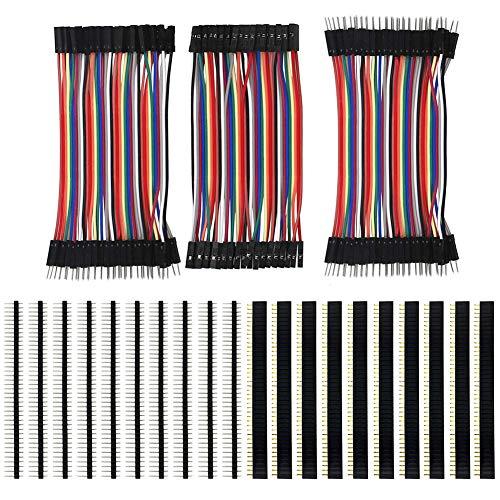 KeeYees 120pcs 3x10 cm Jumper Wire Drahtbrücken Set 40pin Male zu Female, Male zu Male, Female zu Female mit 20pcs Kopfleisten Single Reihe 40pin PCB Stiftleiste 2,54mm für Arduino Raspberry Pi -
