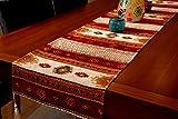 Camino de mesa de lujo de Anatolia serie, Rojo Blanco, (228x37 cm)