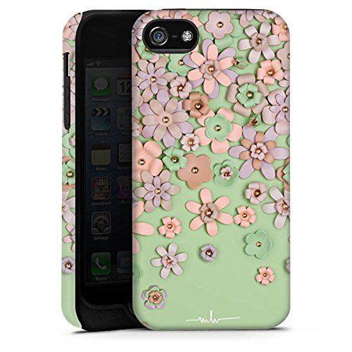 Apple iPhone X Silikon Hülle Case Schutzhülle Leder Blumen Muster Tough Case matt