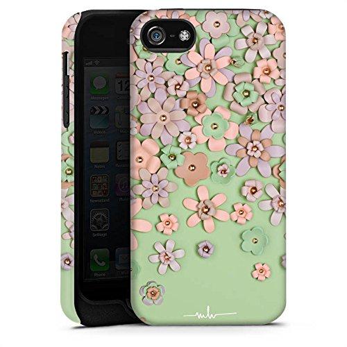 Apple iPhone X Silikon Hülle Case Schutzhülle Leder Blumen Muster Tough Case matt
