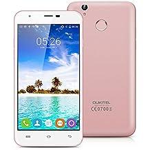 "Oukitel U7 Plus - Smartphone libre Android 7.0 (4G LTE, Pantalla 5.5"" LTPS, 16GB ROM + 2GB RAM, Quad-Core, Lector de huellas dactilares, Dual SIM), Oro rosado"