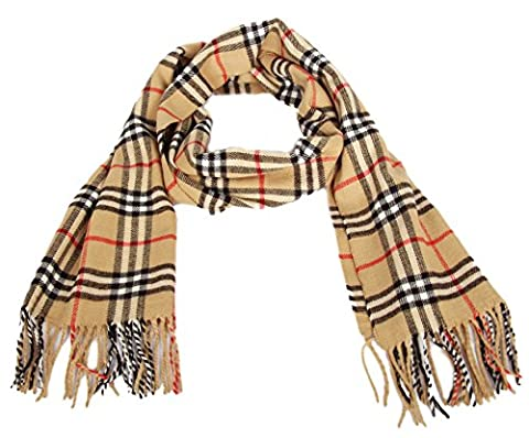 Calonice Amorino Women's Accessory Yellow brown black red Winter Scarf Plaid Style Super Soft Rich Cashmere feel One size 192x0.1x34 cm (LxHxW)