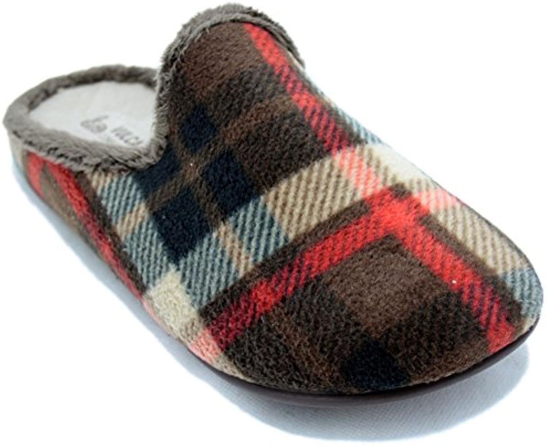 Vulcabicha 800 - Zapatillas Abiertas de Cuadros Clásicos Marrones