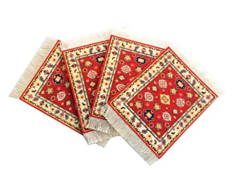 Inusitus 4er Set Untersetzer Mit Teppich Muster- Bunte Untersetzer Glass, Tisch und Baruntersetzer - Mehrfarbig (hell-rot) - Rechteckige Mehrfarbige Teppiche