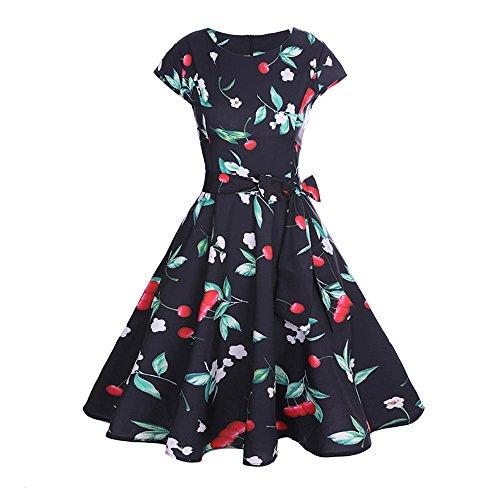 JMETRIC Kirsch Print Kleid 80er Jahre Elegantes Vintage Kleid Hepburn Stil Kleid Hohe Taille Faltenrock (Schwarz,XL)