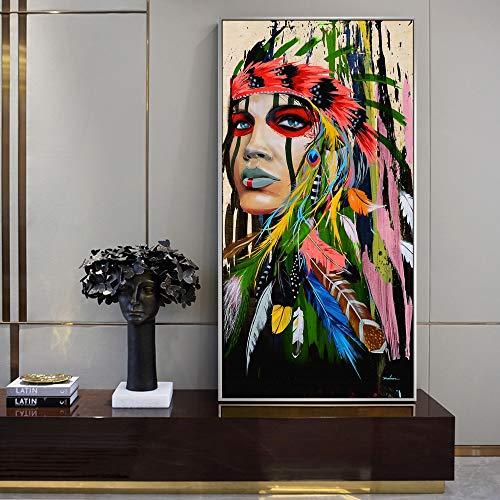 Indische Leinwand Kunst (Wsxwga Abstrakte indische Frau leinwand gemälde an der Wand Kunst leinwand Feder mädchen pop Wand Graffiti Kunst Bilder für Wohnzimmer 40 * 80 cm)