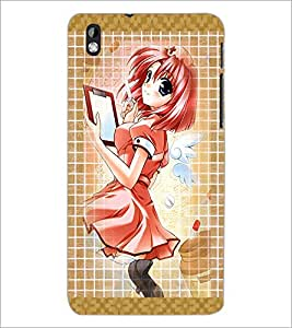 PrintDhaba Writing Girl D-3042 Back Case Cover for HTC DESIRE 816 (Multi-Coloured)