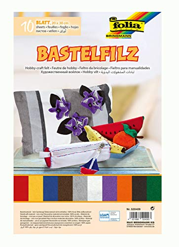 folia 520409 - Bastelfilz, mit feiner Wollqualität, 10 Blatt, 150 g/qm, 20 x 30 cm, sortiert in 10 verschiedenen Farben, klebefleckenfreie Verarbeitung - ideal für vielfältige Bastelarbeiten (Grau Und Rosa Papier-platten)