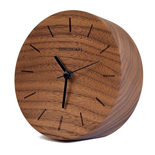 Beladesign Uhr Holz FSC Schwarze Walnuss Nacht Wecker Silent Alarm Klassische Round Table Büro