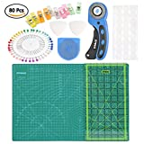 OFNMY Kit de 80pcs con A3 Alfombrilla de Corte + Cúter Rotativo de 45mm + Cuchilla de Repuesto de 45mm + Patchwork de Regla + Abrazadera de Plástico + Alfileres + Tiza de Sastre