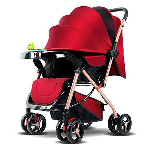 AZW Passeggino Carrycot e Passeggino, Passeggino Leggero Fino a 25 kg con Posizione sdraiata può sedersi e posare Ombrello Semplice Passeggino a Quattro Ruote,Red