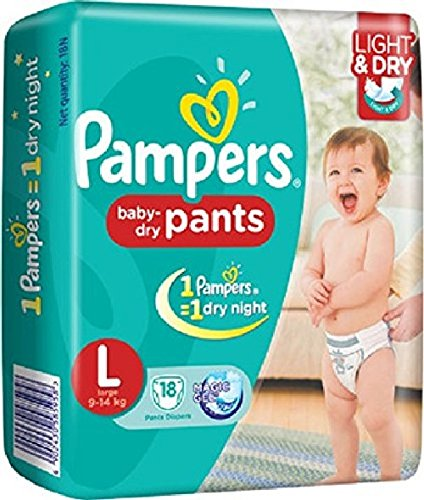 Pampers Baby Dry Pants Large Size Diapers (18 Count)