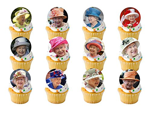 24 x Queens Birthday The Royal Wedding Prince Harry and Meghan Street Tea Party (Hats) Celebrations Union Jack UK Flag STAND UP STANDUP Fairy Muffin Cup Cake Toppers Decoration Edible Rice Wafer Paper