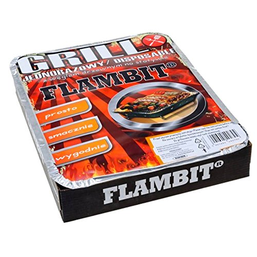 51duWkbx1bL - Flambit Einweggrill To go, mit Anzüghilfe, Holzkohle, Aluschale, 2er Pack (2 x Grill)