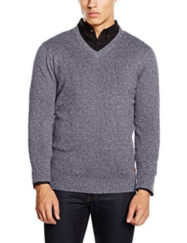 Camel Active V-Neck 1/1, Pull Homme Multicolore (offwhite/Blau 03)