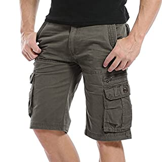 AYG Herren Cargo Shorts Bermudas Schwarz Shorts(soil army green,32)