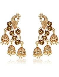 Meenaz Kundan Pearl Gold Plated Jhumki Earrings For Women