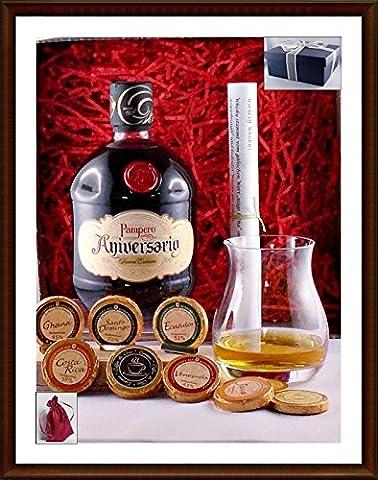 Geschenk Pampero Aniversario Reserva Exclusiva Rum mit 9 DreiMeister Edel Schokoladen & 1 Original Glencairn Glas, kostenloser Versand
