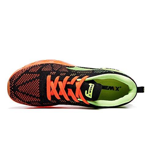 ONEMIX Air Scarpe da Ginnastica Corsa Basse Uomo Sportive Running Sneaker Verde Fluorescente Nero Arancione
