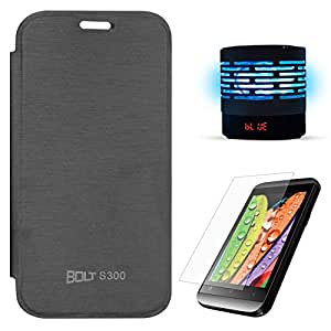 DMG Flip Book Hard Back Protective Cover CaseFor Micromax Bolt S300 (Black) + Wireless Handsfree Bluetooth Portable Speaker AUX TF Card with Night LED + Screen Guard