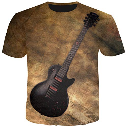 Männliche 3D T-Shirts Gitarrendruck Männer Cool Hipster Sommer Tops Männer Tees Hip Hop As Show Asian Size M -