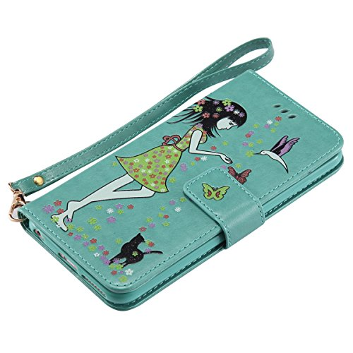 Custodia iPhone 6 Plus, iPhone 6S Plus Flip Case Leather, SainCat Custodia in Pelle Cover per iPhone 6/6S Plus, Bling Glitter Anti-Scratch Book Style Protettiva Caso PU Leather Flip Portafoglio Custod Verde