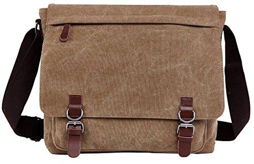 Bdawin Herren Canvas Laptop Schultertasche Umhängetasche Aktentasche Taschen,8645 Schwarz Khaki