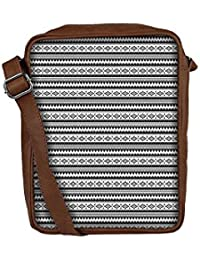 Snoogg Aztec Black And White Sling Bags Crossbody Backpack Chest Day Pack Travel Bag Book Bag For Men & Women