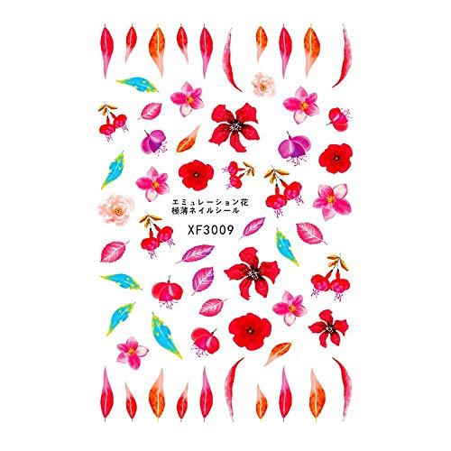 TAOtTAO Wasserzeichen-Nagelaufkleber-Blumen-Reihe Frischer Stil Blumendruck 3D Nail Art Aufkleber Maniküre Adhesive Transfer Decals (I)