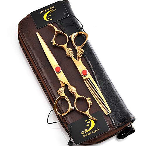 Haarschere Set 5,5/6,0 Zoll Gold Dragon Griff mit Friseurschere Professionelle Edelstahl-Haar-Styling-Schere Beauty Hair Tool, Hair Cutting/Effilierschere,5.5inches