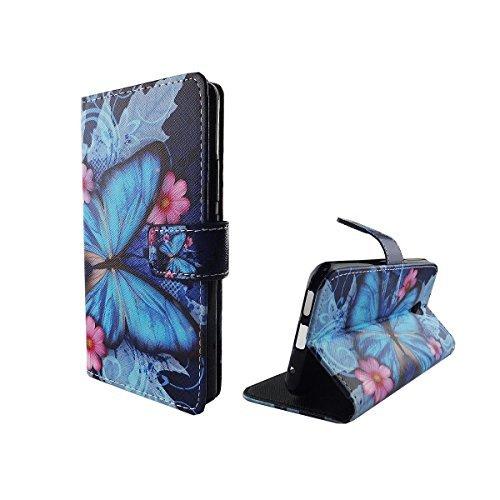 König-Shop Handy-Hülle für Vodafone Smart Prime 7 Klapp-Hülle aus Kunst-Leder | Inklusive Panzer Schutz Glas 9H | Sturzsichere Flip-Case in Blau | Im Schmetterling Motiv