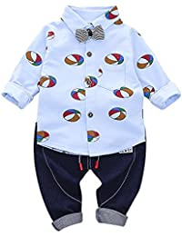 Clearance Sale Kids Baby Clothes Set Ballon Print Gentleman Bow Shit Tops Pants 2 Pcs Outfit