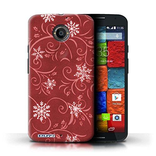 Kobalt® Imprimé Etui / Coque pour Motorola Moto X (2014) / Rose conception / Série Motif flocon de neige Rouge