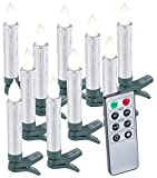 Lunartec Weihnachtskerzen LED: 10er-Set LED-Weihnachtsbaum-Kerzen mit Fernbedienung und Timer, silber (LED Stabkerzen)