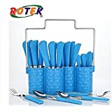 Trendy Emperor Cutlery Set - Spoon Set - Spoon Stand - 24-Pieces - Blue