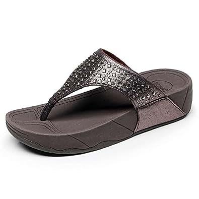 4c3bf2d625e31c Tuoup Women s Leather Flip Flops Fashion Sandles Thong Sandals Brown 40 8.5  D(M)