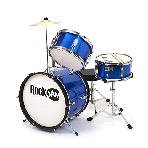 RockJam RJ-103MB 3-Teile Junior Schlagzeug-Satz mit Crash-Becken (Trommelstecken, einstellbarer Thron, Zubehör) blau