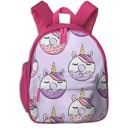 Zaino per bambini 2 anni,Ciambelle all'unicorno (rosa e viola) Viola chiaro_2323 - littlearrowdesign, Per le scuole per bambini Panno oxford (rosa)