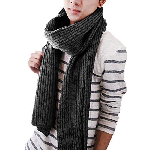 Unisex Strickschal Lang Grobstrick Schal Warm Winterschal einfarbiges Halstuch Oversized Schlauchschal für Herbst und Winter, Grau, Einheitsgröße