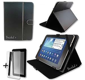 """Noir PU Cuir Étui-Support Housse en pour Hamlet XZPAD703G / Zelig PAD 270 / Zelig PAD 700 7"""" pouce inch Tablette PC + Protège-écran et Stylet"""