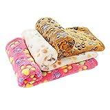 PET SPPTIES Super Soft Fleece Warm Pet Hund Katze Bett decken, Decke für Welpen Paw Prints Pet Kissen Kleine Hund Katze Bett weiche warme Schlafen Matte,3 x Stück PS016 (80cmx60cm)