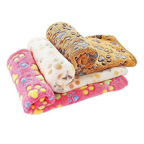 PET SPPTIES Super Soft Fleece Warm Pet Hund Katze Bett decken, Decke für Welpen Paw Prints Pet Kissen Kleine Hund Katze Bett weiche warme Schlafen Matte,3 x Stück PS016 (80cmx60cm) -