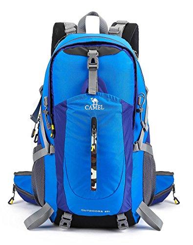 CAMEL 40L Leichter Rucksack Wasserdicht Outdoor Sports Daypack mit Regenschutz für Wandern Laufen Radfahren Klettern und Jagen (Bright Blue, 40L)
