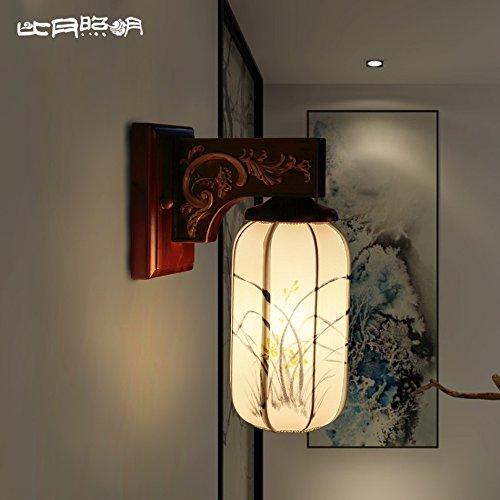 BBSLT Solido legno parete lampada lampada da comodino corridoio luci