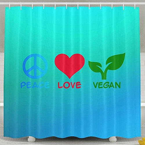 BESTSC Schimmelresistent Türkis Vorhänge Dusche Liner–Peace Love Vegan Bad Vorhang, Polyester-Wasserdicht-Badezimmer Decor Set mit Haken–152,4x 182,9cm 60*72inch Grün