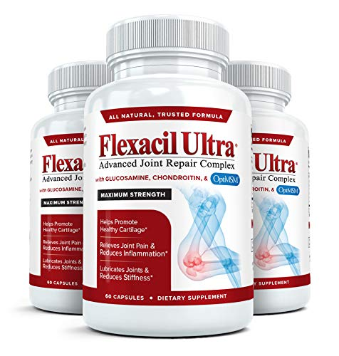 Flexacil Ultra - (3 bottles, 60 caps each) The Most Advanced Joint Repair and Pain Relief Formula - Premium Grade Glucosamine, Chondroitin, MSM, Hyaluronic acid and Omega 3 Fish Oil - Highest Potency Combination Test