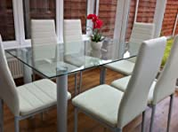 STUNNING GLASS WHITE DINING TABLE SET
