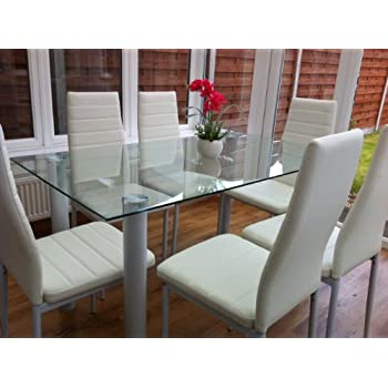 STUNNING GLASS, WHITE OR BLACK DINING TABLE SET AND 6 FAUX LEATHER CHAIRS  (CLEAR