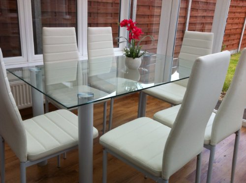 KOSY KOALA STUNNING WHITE OR BLACK GLASS, DINING TABLE SET AND 4 OR 6 FAUX LEATHER CHAIRS (White, TABLE WITH 4 CHAIRS)