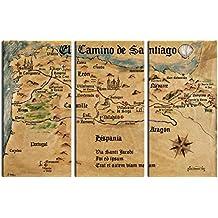 Camino De Santiago De Compostela - El Camino De Santiago Anno 1445, Jon Mellenthin, 3 Partes Cuadro, Lienzo Montado Sobre Bastidor (180 x 120cm)